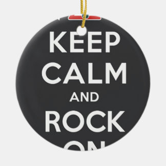 Keep Calm And Rock On Double-Sided Ceramic Round Christmas Ornament