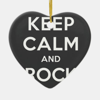 Keep Calm And Rock On Double-Sided Heart Ceramic Christmas Ornament