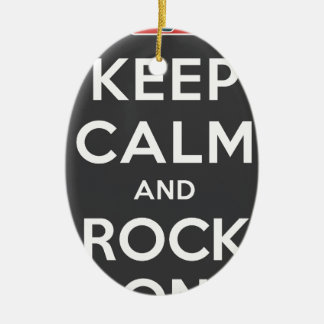 Keep Calm And Rock On Double-Sided Oval Ceramic Christmas Ornament