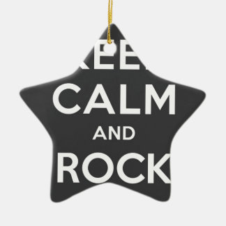 Keep Calm And Rock On Double-Sided Star Ceramic Christmas Ornament