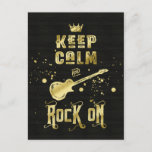 Keep Calm and Rock On Electric Guitar Typography Postcard