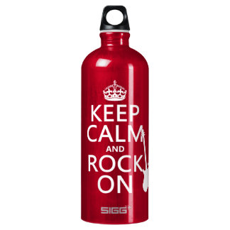 Keep Calm and Rock On (guitar)(any color) Aluminum Water Bottle