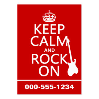 Keep Calm and Rock On (guitar)(any color) Large Business Cards (Pack Of 100)