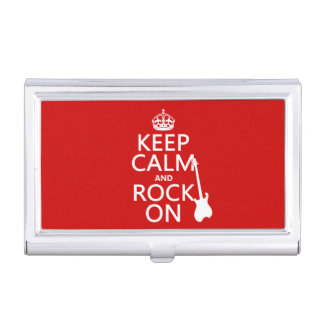 Keep Calm and Rock On (guitar)(any color) Business Card Holder