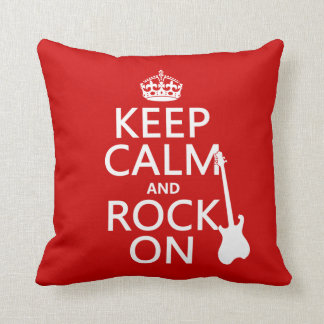 Keep Calm and Rock On (guitar)(any color) Throw Pillow