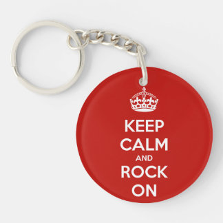 Keep Calm and Rock On Keychain