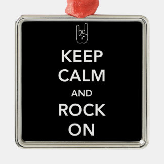Keep Calm and Rock On Metal Ornament