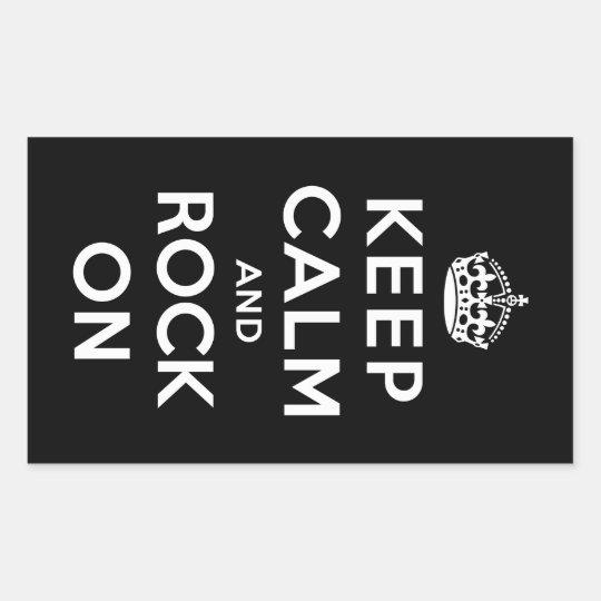 Keep Calm and Rock On Rectangular Sticker