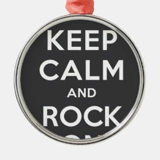 Keep Calm And Rock On Round Metal Christmas Ornament