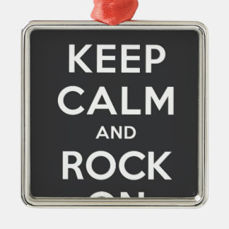 Keep Calm And Rock On Square Metal Christmas Ornament