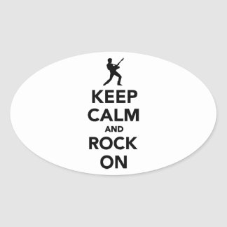 Keep calm and Rock on Oval Sticker