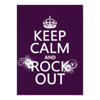 Keep Calm and Rock Out (any background color) 5.5x7.5 Paper Invitation Card