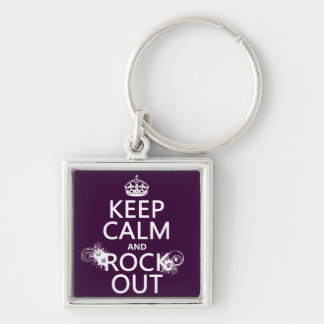 Keep Calm and Rock Out (any background color) Keychain