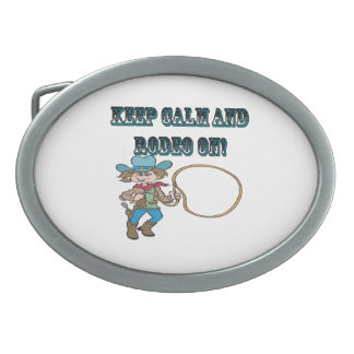 Keep Calm And Rodeo On Oval Belt Buckle