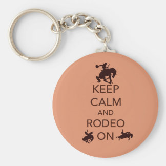 Keep Calm and Rodeo On cowboy cowgirl gift Basic Round Button Keychain