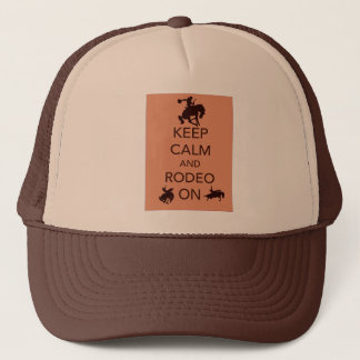 Keep Calm and Rodeo On cowboy cowgirl gift Trucker Hat