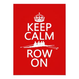 "Keep Calm and Row On (choose any color) 5.5"" X 7.5"" Invitation Card"