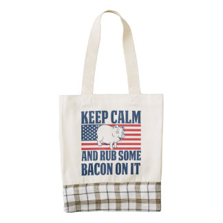 Keep calm and rub some bacon on it zazzle HEART tote bag