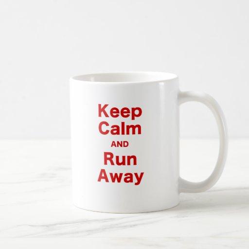 Keep Calm and Run Away Coffee Mugs