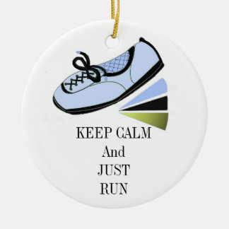 Keep Calm and Run Ceramic Ornament
