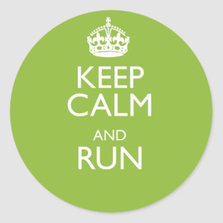 KEEP CALM AND RUN CLASSIC ROUND STICKER