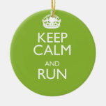 KEEP CALM AND RUN Double-Sided CERAMIC ROUND CHRISTMAS ORNAMENT