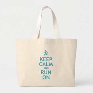 Keep Calm and Run On (blue) Jumbo Tote Bag