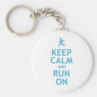 Keep Calm and Run On (blue) Basic Round Button Keychain