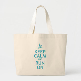 Keep Calm and Run On (blue) Large Tote Bag