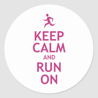 Keep Calm and Run On Classic Round Sticker