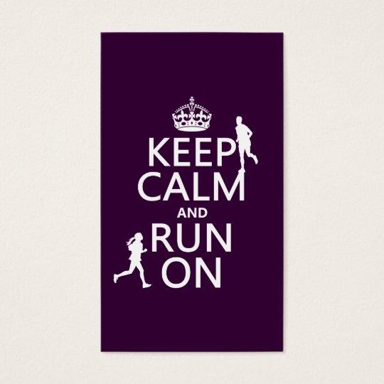 Keep Calm and Run On (customizable colors) Business Card