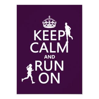 Keep Calm and Run On (customizable colors) Card
