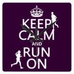 Keep Calm and Run On (customizable colors) Square Wallclock