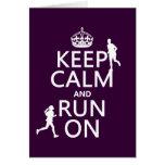 Keep Calm and Run On (customizable colors) Greeting Card