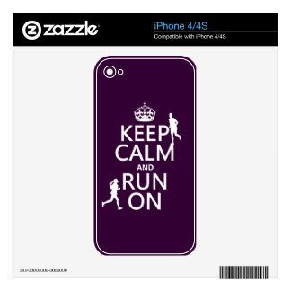 Keep Calm and Run On (customizable colors) iPhone 4 Skins