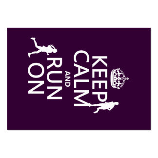 Keep Calm and Run On (customizable colors) Large Business Card