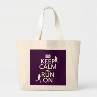 Keep Calm and Run On (customizable colors) Large Tote Bag