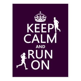 Keep Calm and Run On (customizable colors) Postcard