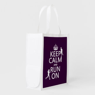 Keep Calm and Run On (customizable colors) Reusable Grocery Bag