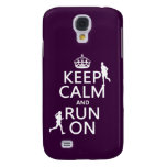 Keep Calm and Run On (customizable colors) Samsung Galaxy S4 Cover
