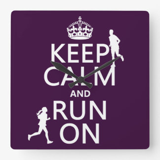 Keep Calm and Run On (customizable colors) Square Wall Clock