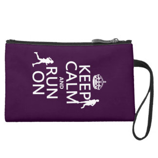 Keep Calm and Run On (customizable colors) Suede Wristlet Wallet