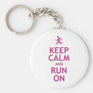 Keep Calm and Run On Basic Round Button Keychain
