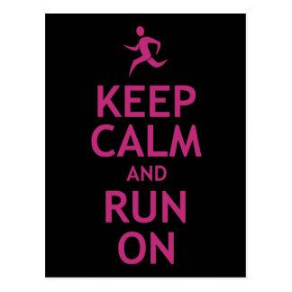 Keep Calm and Run On Postcard