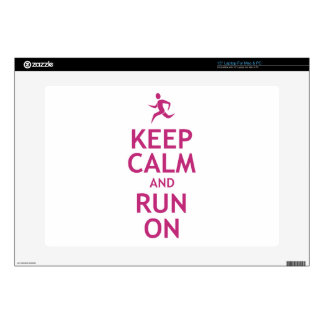 """Keep Calm and Run On 15"""" Laptop Skins"""