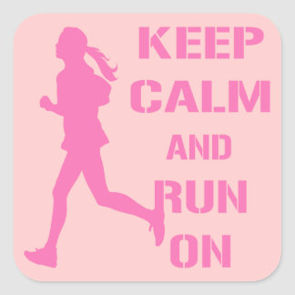 Keep Calm and Run On Square Sticker