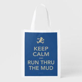 Keep Calm and Run Thru The Mud Reusable Bag Reusable Grocery Bags