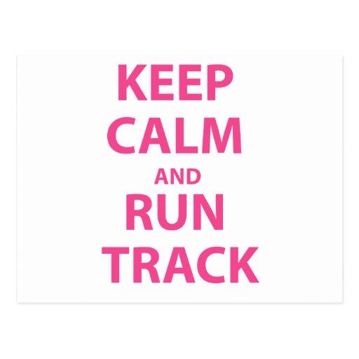 Keep Calm and Run Track Postcard