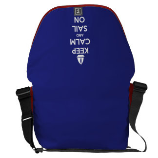 Keep Calm and Sail On Blue Courier Bag