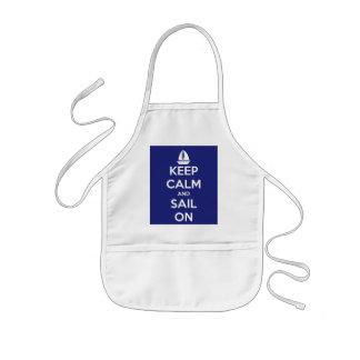 Keep Calm and Sail On Blue Kids' Apron